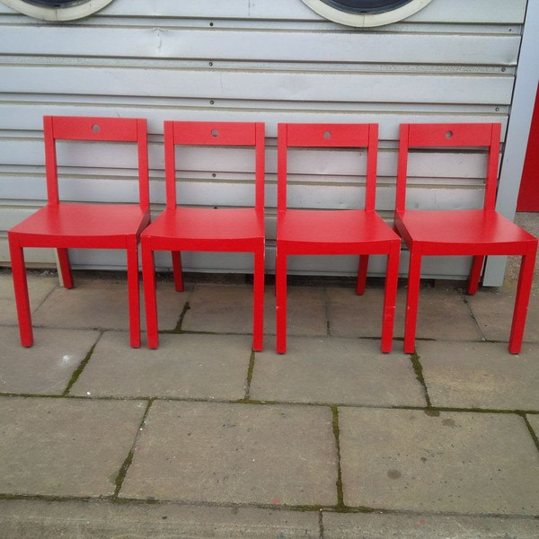 Used red italian dining chairs