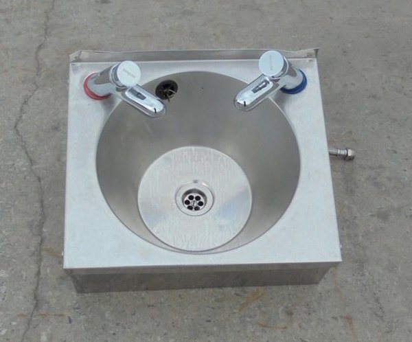 Used steel hand wash sink