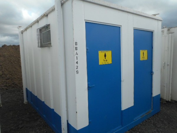 Secondhand portable shipping container toilets
