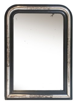 Antique French Silver Gilded & Ebony Overmantle Mirror