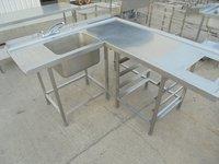Used Stainless Steel Corner Single Bowl Dishwasher Sink (5770)