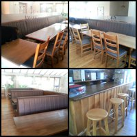 Bench seating tables chairs and bar unit