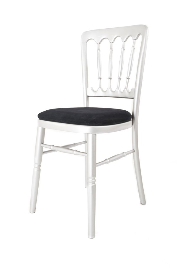 Silver Cheltenham (Spindle Back) Chairs With Black Seat Pads