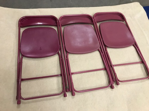 Burgundy folding chairs