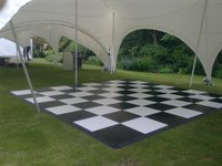 Lightweight Black and White 16ft x 16ft plastic dance floor