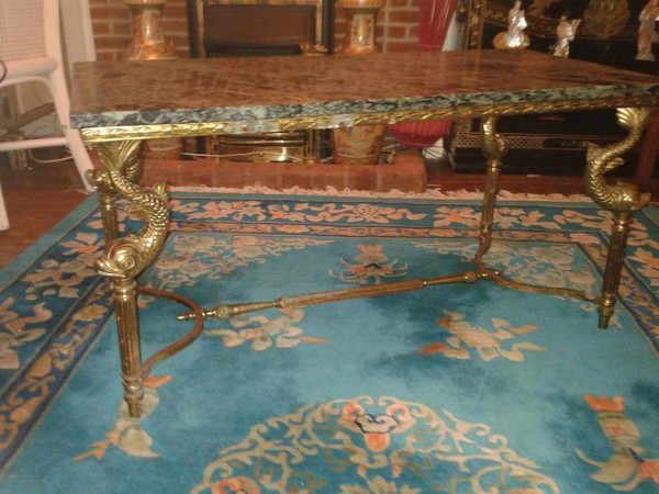 1950s Gold Gilt Style and Green Marble Coffee Table