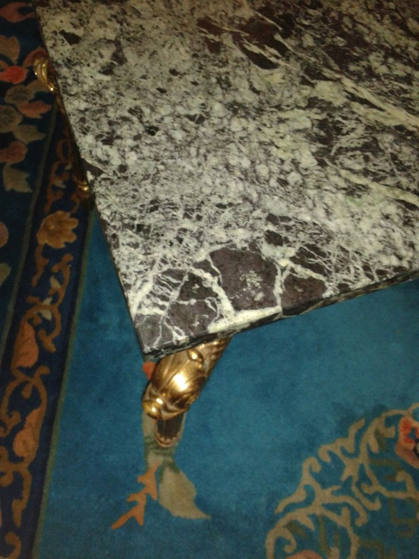 1950s Vintage Gold Gilt Style and Green Marble Coffee Table