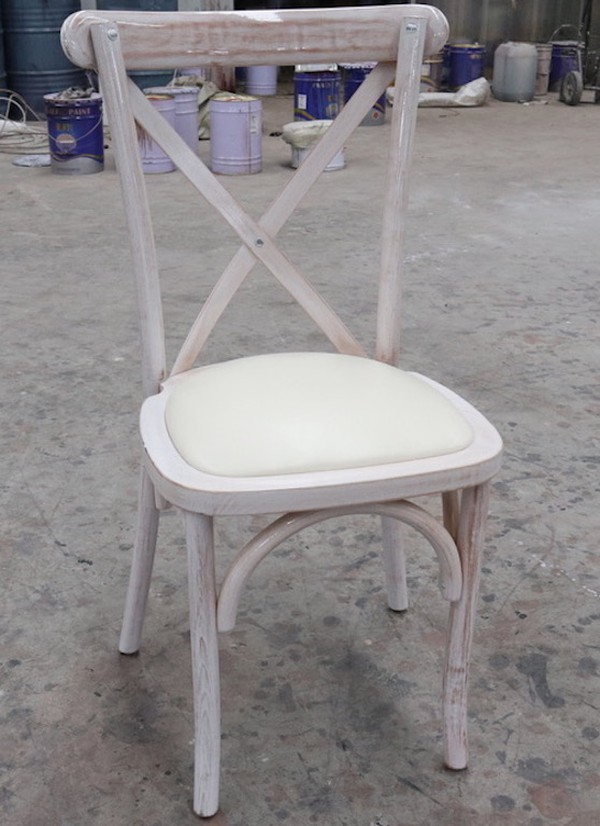 Limewash Hampton-Style Cross-back Chairs