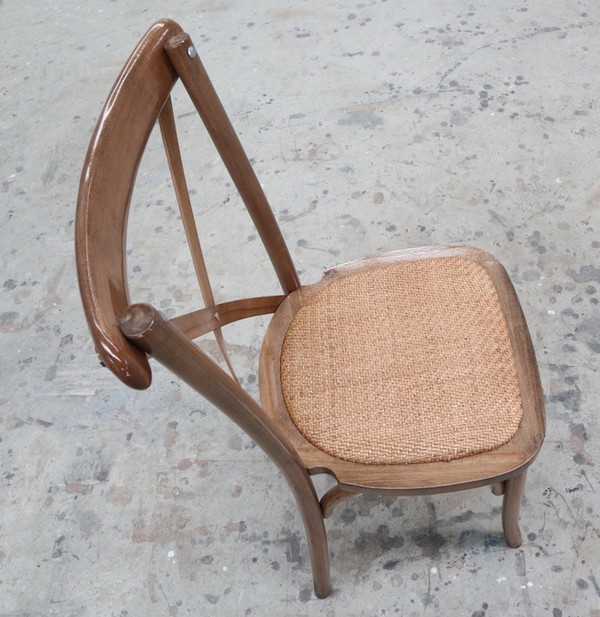 Rustic Oak finish event chair with Ratten Seat