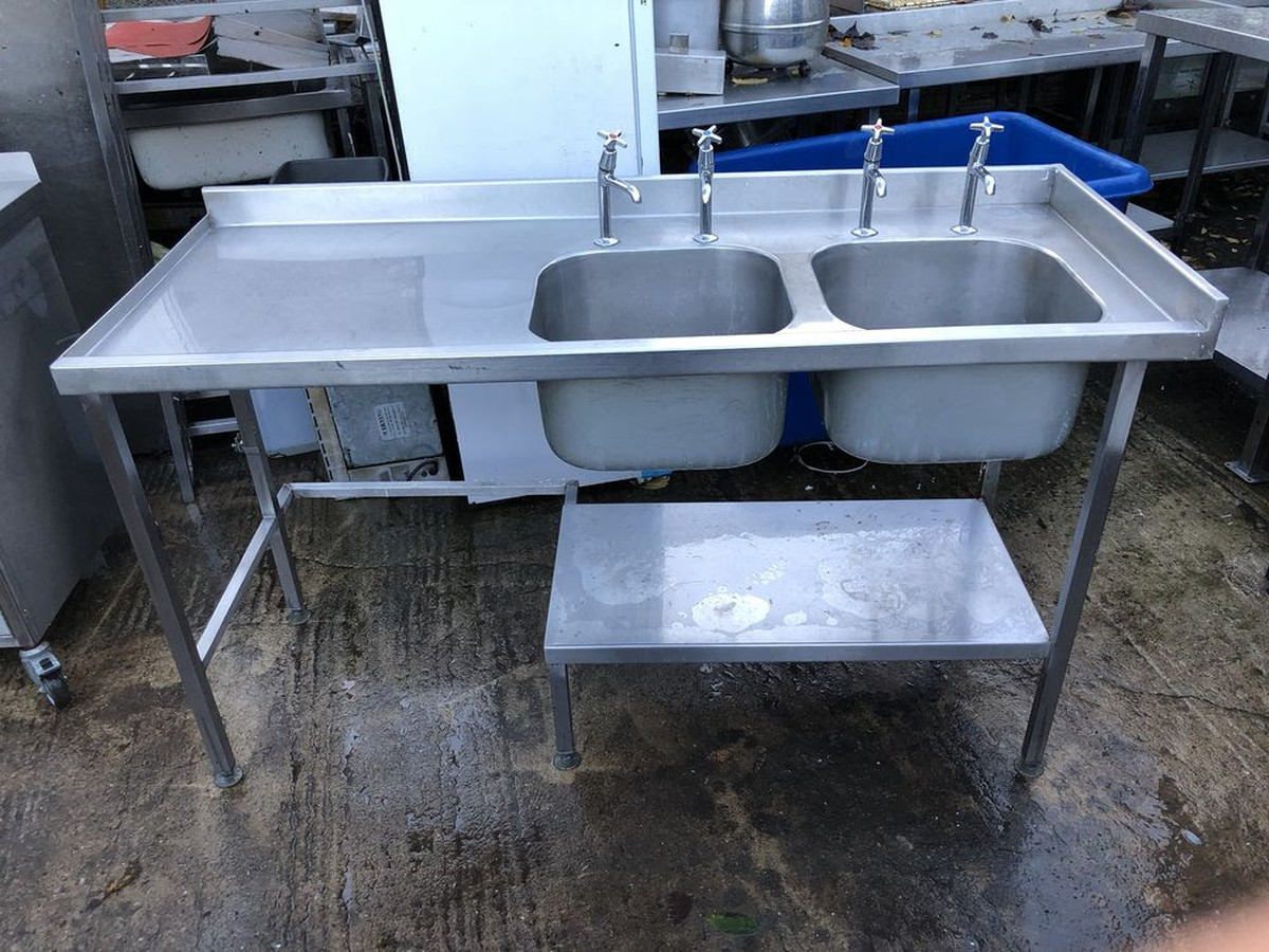 Secondhand Catering Equipment | Double Sinks | 1600mm Double Bowl ...