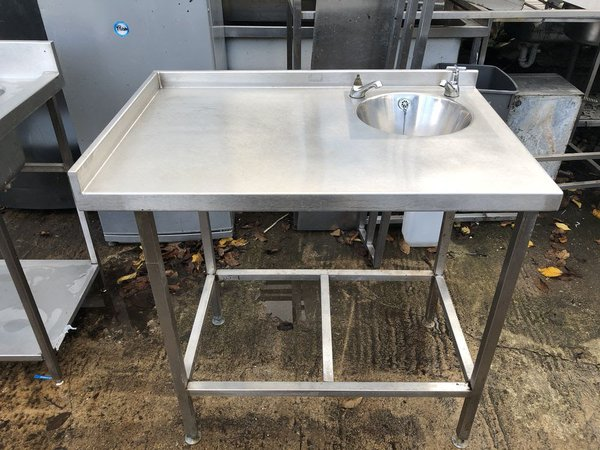 Steel table with hand basin