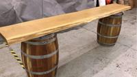 Oak wine barrel bar