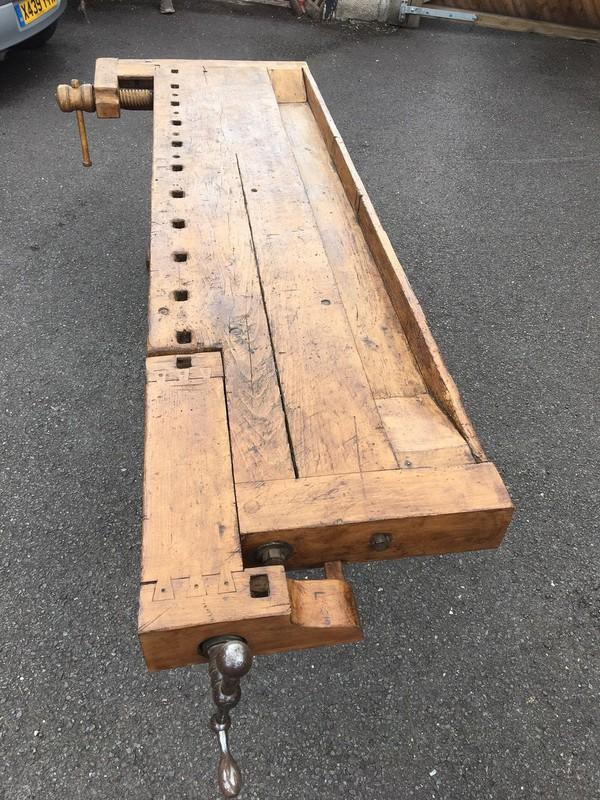 Vintage Hungarian Oak Carpenter's Workbench,