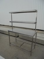 Used Stainless Steel Table + 2 Gantry Shelves	(6001)