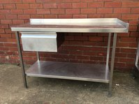 Steel table with draw