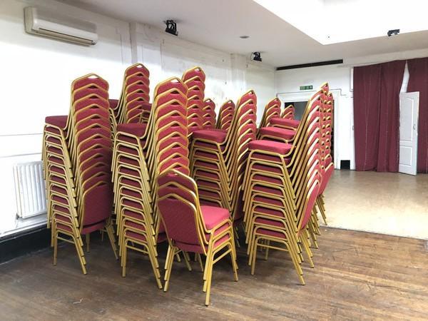Burgundy steel chairs