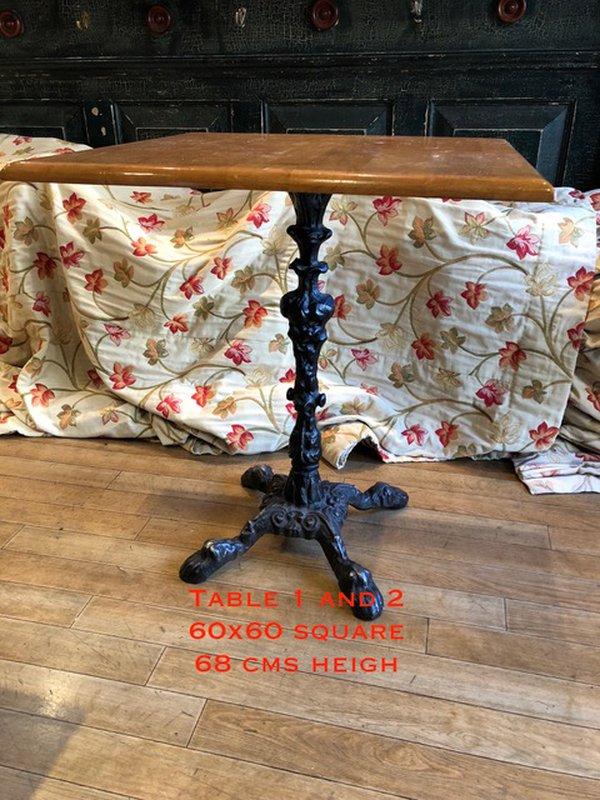 Vintage pub table with cast iron pedestal base