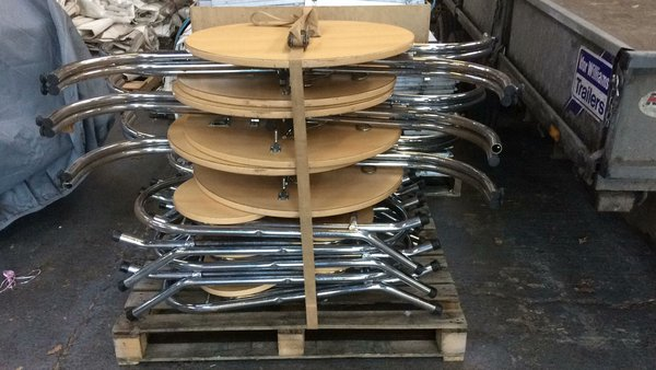 Secondhand folding poseur tables with chairs