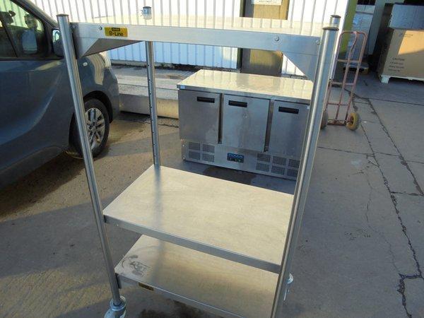 Stainless steel shelving on wheels