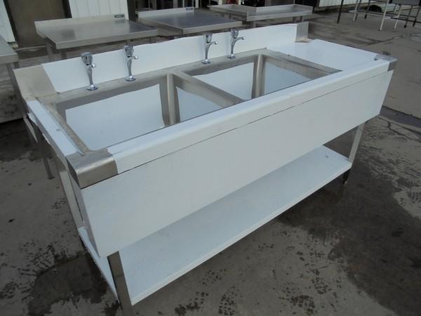 Steel double sink