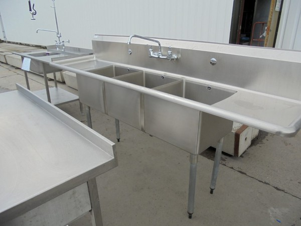 Used Vogue Stainless Steel Triple Bowl Sink / Kitchen Catering Prep Wash Up (6142)