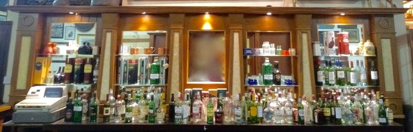 Oak Back Bar Mirrored Fitting