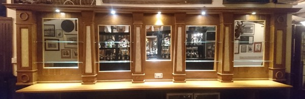 Oak Back Bar Mirrors Fitting