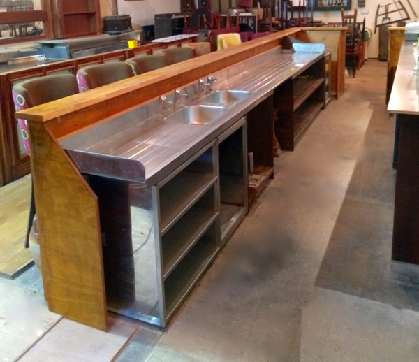 Reclaimed Oak Bar Front and Back Fitting