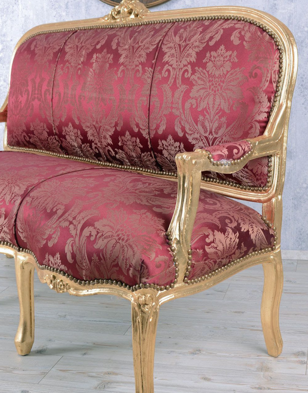 Red and gold sofa suite