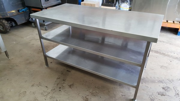 Stainless steel table and shelves