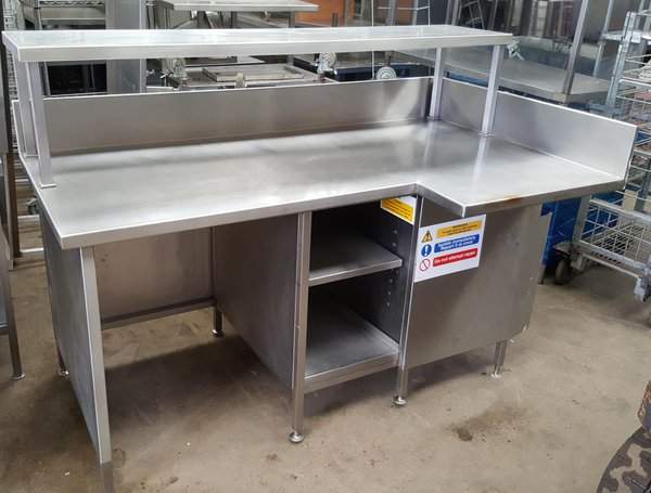 Stainless steel wall mounted table