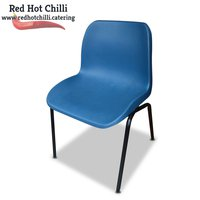 Blue plastic stacking chairs