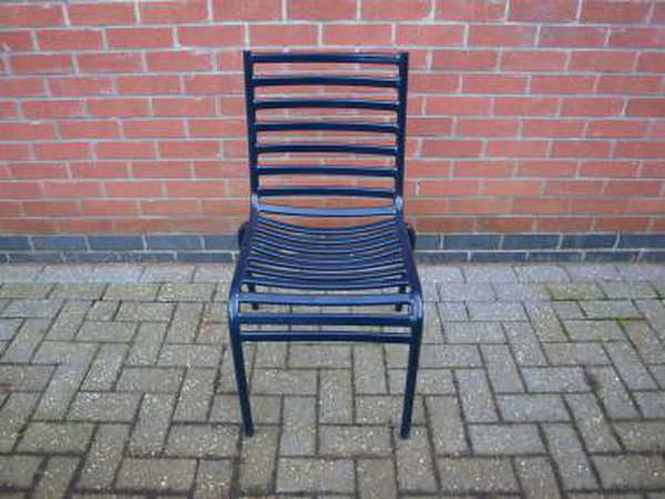 Dark Blue Stackable Metal Chairs
