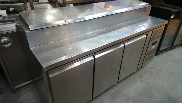 Used Tefcold SS7300 Stainless Steel 3 Door Saladette (6245)
