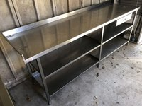 Stainless Steel Table with Drawer and 2 Shelves