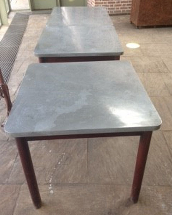 Zinc top tables for sale