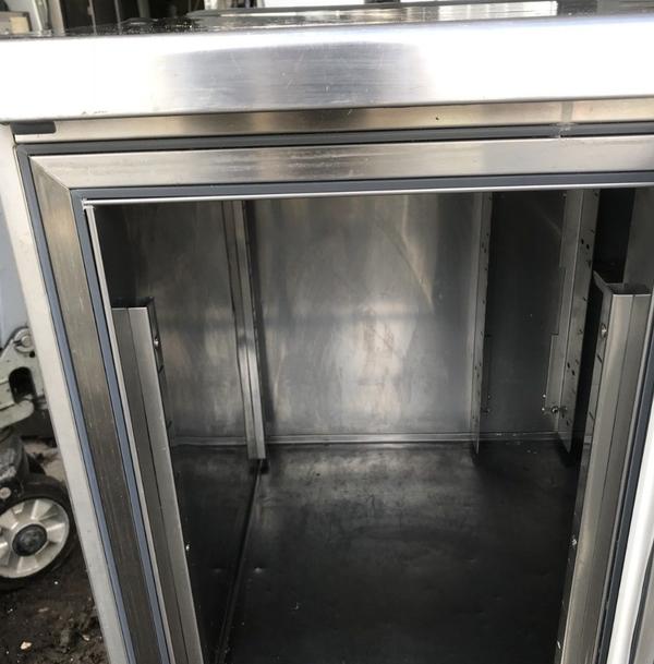 Stainless steel prep fridge