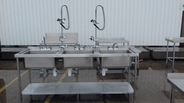 Triple bowl sink for sale