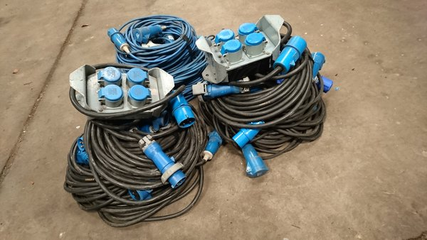 16A HO7 rubber cables with 4 way 16A out distro boxes