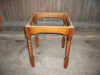 Vintage pub table base with barley twist legs