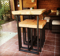 Handmade industrial stool and tables