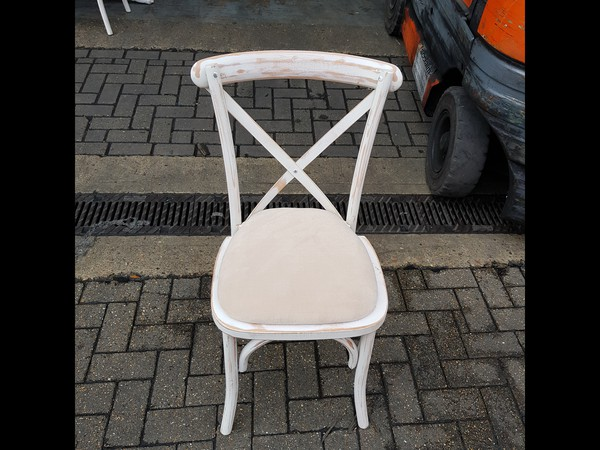 Limewash cross backed chair