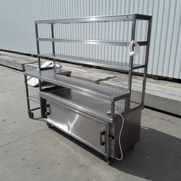 Used Stainless Steel Table with 2 Double Heated Shelf Pass Hot Cupboard