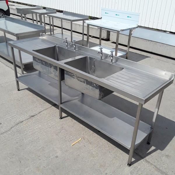 steel double bowl sink