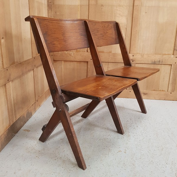 Oak 1930's Classic Folding Benches 2 Seater