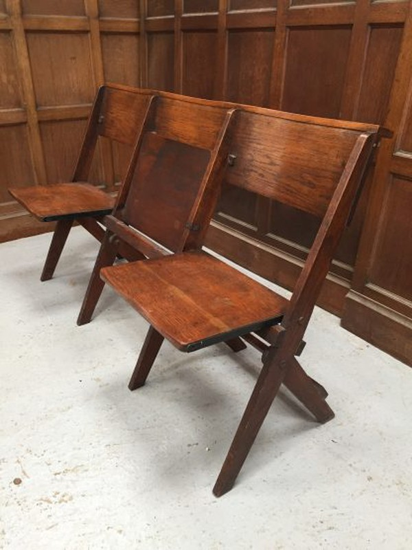 Oak 1930's Classic Folding Benches 3 Seater