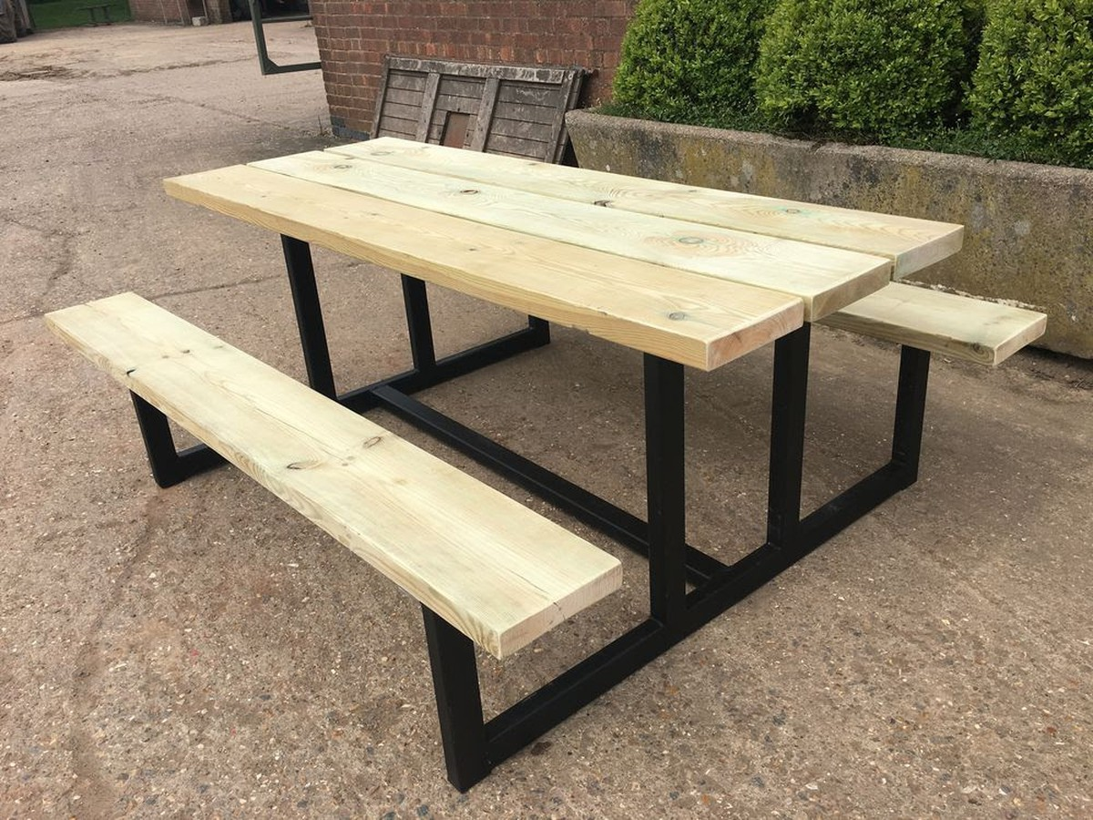 industrial style outdoor furniture. Industrial Style Dining Set Bench And Tables For Sale Outdoor Furniture R