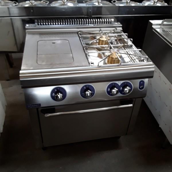 New B Grade Bonnet Hobart B207PF8FG Stainless Steel Double 2 Burner Solid Top Range Cooker Oven (6661)