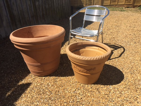 Big plastic flower pots