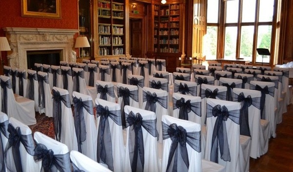 White poly chair covers